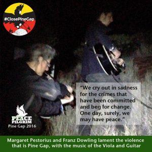 Musicians Margaret Pestorius and Franz Dowling #PineGapPilgrims