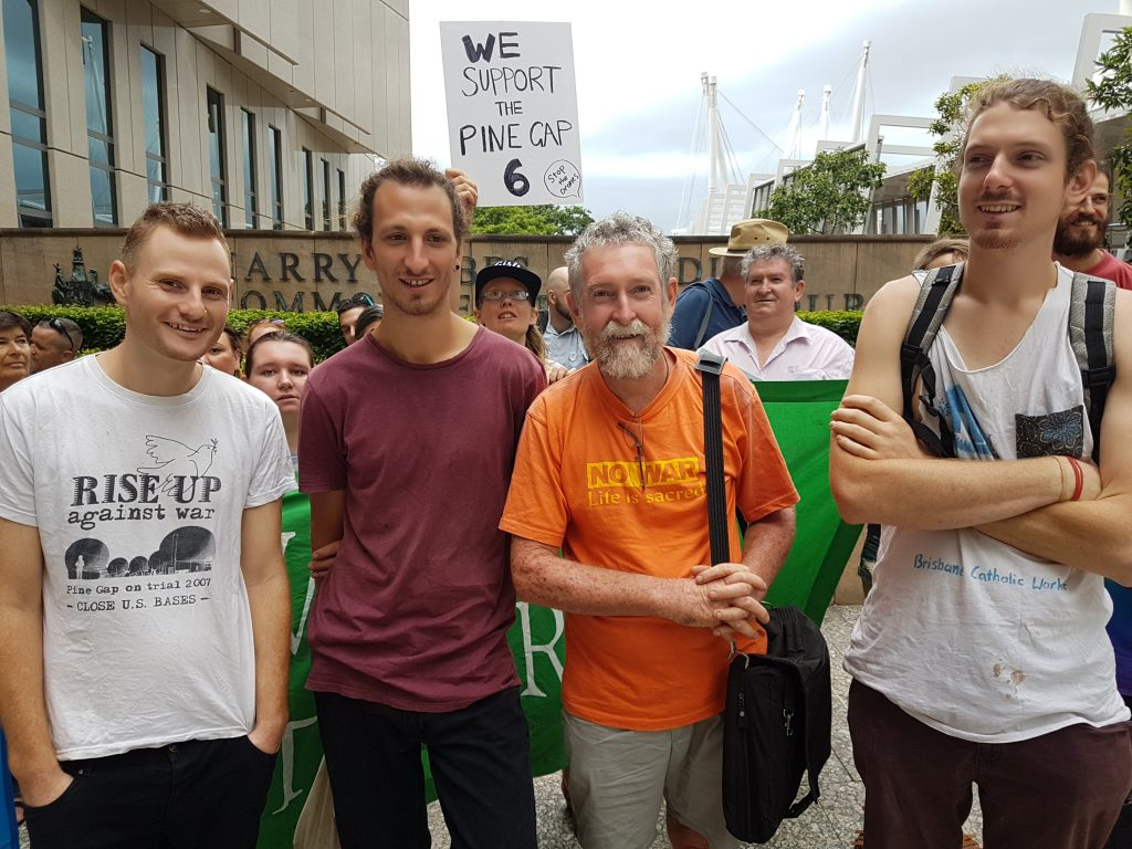 Brisbane Peace Pilgrims and Catholic Workers Andy Paine, Tim Webb, Jim Dowling, Franz Dowling before sentencing in the Brisbane Federal Court 4th December 2017
